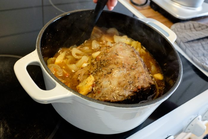 Pulled beef in the making